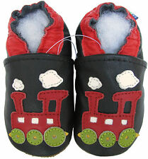 carozoo train black 12-18m C1 soft sole leather infant shoes slippers