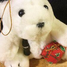 COCA COLA White PLUSH POLAR BEAR Christmas 1996 Ornament w/ Tag w/ Gift & Bottle