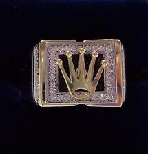 Caballeros Rolex Signet Anillo con Negro Onyx y CZ en oro Amarillo de 9ct-GRAN TAMAÑO X