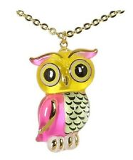 Glass Baron ~ Pink & Yellow Owl Necklace ~ 22kt gold accents ~ New in Box