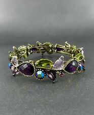 VICTORIAN STYLE MULTI COLOR CRYSTAL LEAF BRASS TONE FINISH CUFF BANGLE BRACELET