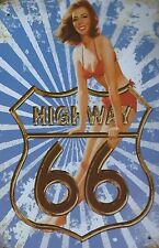 PLAQUE DECORATIVE PIN UP / HIGHWAY 66 -30 X 20 CM -NEUVE-DECO USA /BIKER
