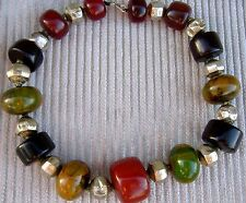 ANTIQUE MOROCCAN AMBER/BAKELITE & MUGHAL GILT SILVER BEADS OF THE 17th/18th CENT