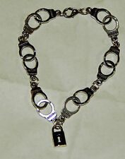 "BDSM KINK Handcuff Bracelet 8"" with Lock by Slave Violet Jewelry Made in the USA"