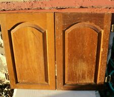 Solid Oak Pair Kitchen Cabinet Doors Arched Replacement Parts 22 1/4 x 13 1/2