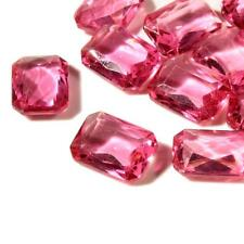 Lot (12) 18mm Czech Bohemian vintage rose pink octagon faceted glass rhinestones