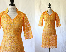1960s 60's Vintage Sheer Marigold Yellow All Lace Dress VTG Cocktail