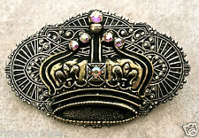 "Crown Pin  pewter brass turquoise AB crystals vintage feel handmade NEW 3"" x 2"""