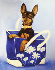 "MINIATURE PINSCHER DOG FINE ART PRINT - ""Min Pin To Go"" - Black & Tan Handbag"