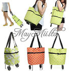 Lady Travel Large Shopping Trolley Dual Wheel Foldable Luggage Shoulder Bag O