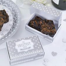 10 Tranche Gâteau boîtes faveur nuptiale argent blanc chic boutique vintage rétro