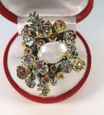 PEARL 2.42 CTW PADPARADSCHA/PURPLE SAPPHIRE RING sz 7 - 14K GOLD/STERLING SILVER