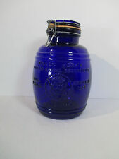 Cracker Barrel Cookie Jar Canister Cobalt Blue Glass Uncla Ezra Vtg 1966 4 Qt