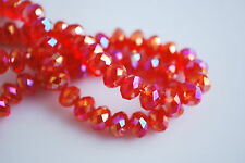 100Pcs Red AB Crystal Glass Faceted Rondelle Bead 6mm Spacer Jewelry Findings