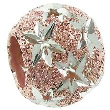 Rose Gold-tone STR Silver Twinkle Star Starry Night Stardust European Bead Charm