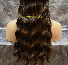 "18"" BROWN MIX FLIP IN SECRET CLEAR WIRE HAIR PIECE EXTENSIONS NO CLIP IN/ON"