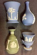 Wedgwood Jasper 2 small Blue Bud Vases 1 Blue Urn 1 Green Bud Vase
