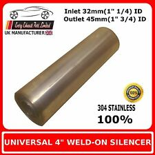 """4"""" x 12"""" Weld On Stainless Steel Silencer Exhaust Box Body, 32mm In - 45mm Out"""