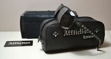 NWT AFFLICTION REBEL BLACK/SILVER SUNGLASSES EYEWEAR WITH CASE 64-14-130