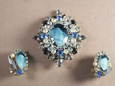 SHIMMERING Blue Striped Stone Juliana D&E Brooch/Pendant & Earring Set!