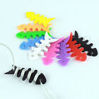 3× Fishbone Earbud earphone Cord silica gel Cable Winder Organizer Colorful MI