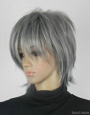 Élégant gris courte synthétiques perruquewig+hairnet
