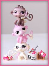 ❤OOAK Littlest Pet Shop LPS Neapolitan Ice Cream Monkeys Custom Lot SET Repaint❤