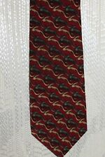 "Natura mens neck tie ""Leaping Lizards""  100% silk maroon red # ES 001-012"