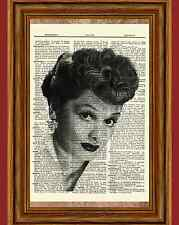 Lucille Ball Dictionary Art Print Book Picture Poster I love Lucy Black & White