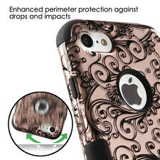 iPhone 7 - Hard&Soft Rubber Hybrid Armor Skin Case Cover Rose Gold Flower Swirls