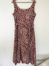 Laura Ashley Giraffe Print Sun Dress 16 Tan / White