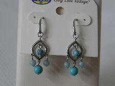 Fossil Brand Silver Tone Sea Side Collection Turquoise Chandelier Earrings