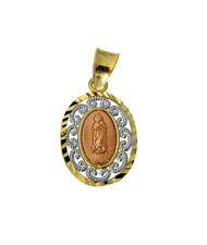 14K 3 Tri-color Gold Religious Mary Guadalupe Charm Pendant