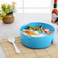 Round Portable Microwave Lunch Box Bento Food Kids Container Storage + Spoon Hot