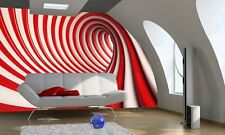 Wall mural wallpaper for home 254x183cm + ADHESIVE Swirl red and white abstract