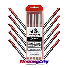 "WeldingCity 10 2% Thoriated Red TIG Welding Tungsten Electrode WT20 1/8""x 7"""