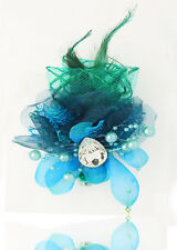 Hot 1pcs Feathers Gauze Headdress Corsage Flowers Dancing/Party  Lake blue