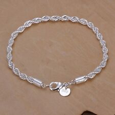 New Women Fashion 925 Sterling Silver Plated Twist Charm Chain Bracelets Jewelry