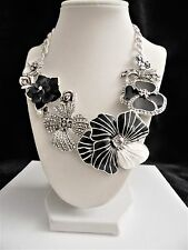 "Joan Rivers Charming Blooms Enamel & Pave' Bib Necklace ""Black/White"" NWT"