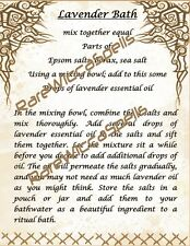 Magick Recipe Lavender Bath Potion for Wicca Spell Book of Shadows 1 parch pg