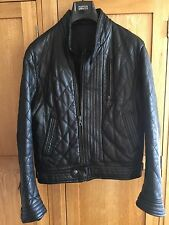 TAKESHY KUROSAWA PADDED QUILTED BLACK LEATHER BIKER JACKET ITALY DESIGNER