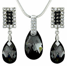 14K Swarovski Elements Black White Jewellery Set Earrings & Necklace Tear Drops