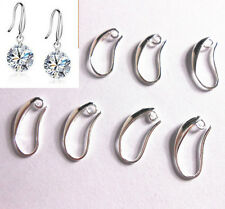 10PCS DIY Crystal Beads Silver Smooth Pinch Bail Earring Hook Ear Wire Hooks NEW