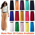 S Women Double Layer Chiffon Pleated Retro Long Maxi Dress Elastic Waist Skirt