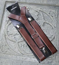 "Vintage Pu Leather Adjustable Suspenders 1""width dark Brown,Wedding man,adult"