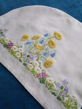 Beautifully Hand Embroidered Vintage Irish Linen Tea Cosy- Wild Flowers