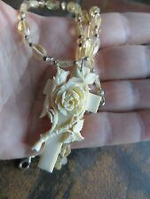 Old Vintage Celluloid  finely carved Rose cross Citrine stone necklace 18""