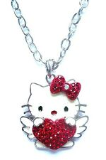 HELLO KITTY CRYSTAL HEART CHAIN NECKLACE P66 GOTHIC EMO JAPAN KAWAII PUNK ROCK