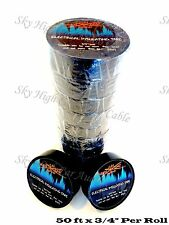 """10 Rolls Sky High Car Audio Electrical Insulating Tape 3/4"""" x 50 ft Black"""