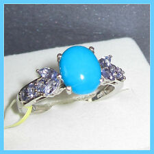 Sleeping Beauty Turquoise Tanzanite Ring 3.0ct Platinum Sterling Silver sz 6